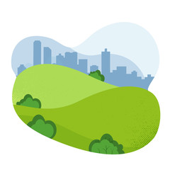 Nature Landscape. Empty Urban Garden. City Park. friendly Natural landscape. Beautiful park. Public park with hills and cityscape, Vector textured flat cartoon illustration on white background