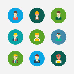 Professional icons set. Indian worker and professional icons with male worker, dentist and female worker. Set of reception for web app logo UI design.