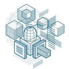 Abstract design with 3d linear mesh shapes and figures, vector isometric background. Cubes, hexagons, squares, rectangles and different abstract elements.