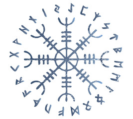 Icelandic magic stave distressed vector illustration: Helm of Awe or Terror, also known as Aegishjalmur sigil with futhark runes circle.