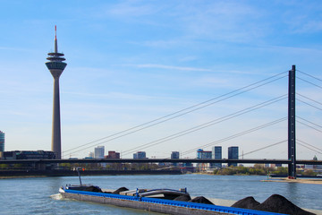 View of the City of Dusseldorf at the river Rhine, Panorama View