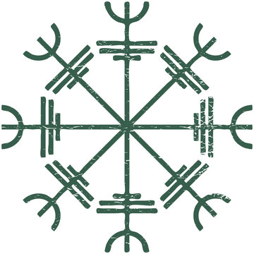 Icelandic magic stave distressed vector illustration: Helm of Awe or Terror, also known as Aegishjalmur sigil isolated.