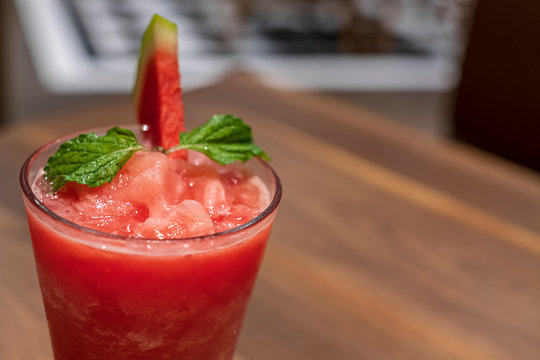 Watermelon drink in glasses on wooden tabel.