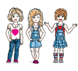 Beautiful happy little girls posing wearing casual clothes. Vector kids illustrations set.