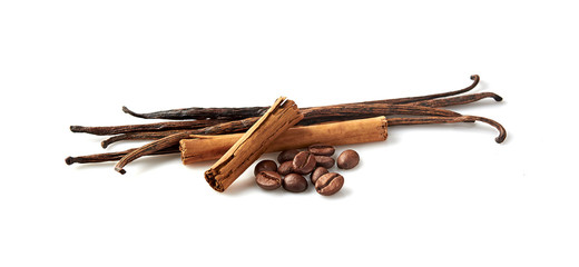 Vanilla, cinnamon and coffee on white background. Spices isolated.