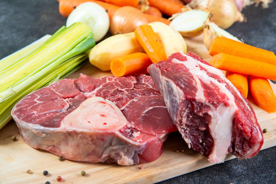meat and vegetables for preparation of french pot au feu