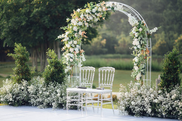 Fototapeta Wedding settings at scenic place obraz