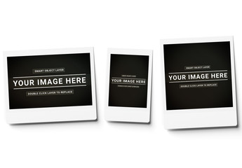 Three Instant Photos Isolated on White Mockup