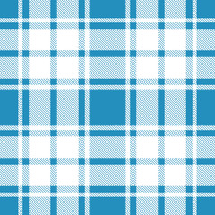 Seamless plaid, tartan, check pattern blue and white. Design for wallpaper, fabric, textile, wrapping. Simple background