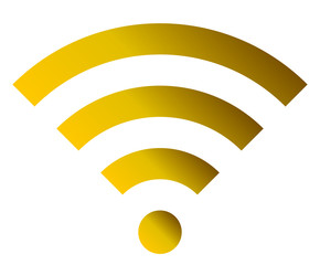 Wifi symbol icon - golden simple gradient, isolated - vector