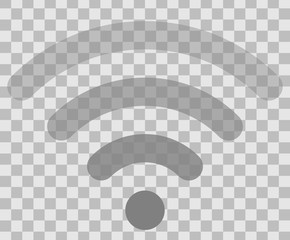 Wifi symbol icon - medium gray simple rounded transparent, isolated - vector