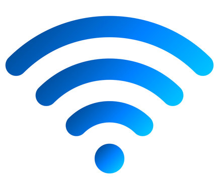Wifi symbol icon - blue simple rounded gradient, isolated - vector