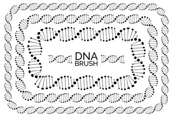 Human dna chain or genome helix molecule rectangular frame