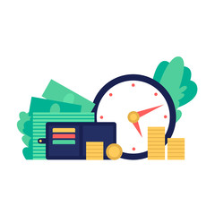 Time is money, stop time, coins and watches. Flat style vector illustration.