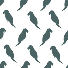 Vector seamless pattern with parrot silhouettes on white background. Endless repeat texture with bird