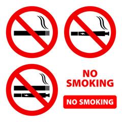 no smoking - no electronic cigarettes - forbidden sign