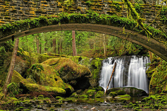 Whatcom Falls as seen from under the bridge in Washington State