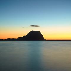 Amazing view of Le Morne Brabant at sunset. Mauritius islandc