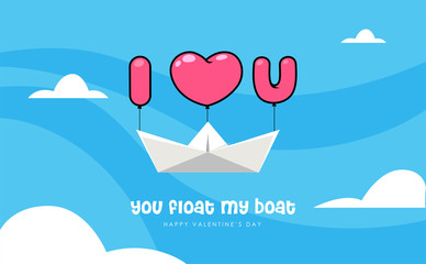 """a paper boat in the sky with """"i love you"""" text. Valentine's vector illustration"""