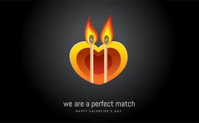 two matches in front of heart shaped tunnel. Valentine's vector illustration