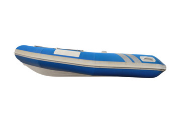 blue inflatable boat isolated on white background