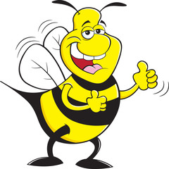 Cartoon illustration of a happy bumble bee giving thumbs up.