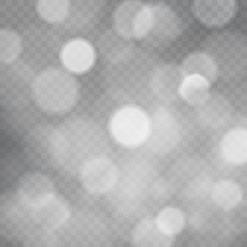 Template of abstract transparent square background with sparkles and bokeh lights, transparent gray vector background with bokeh.