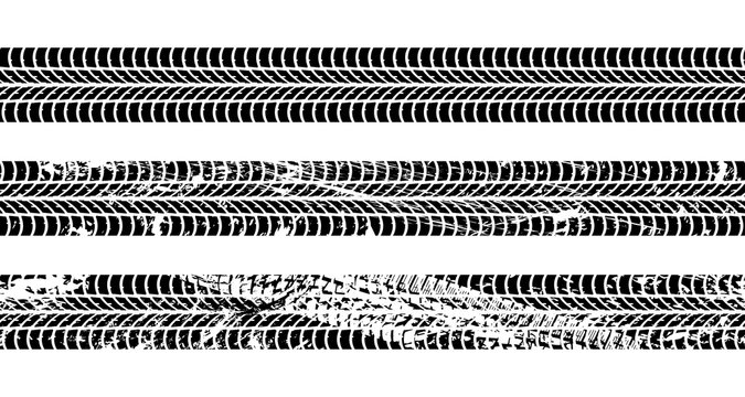 Set of seamless car tire tracks isolated on white background, seamless vector texture