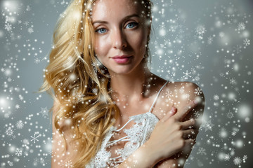 christmas portrait of blond woman for skin treatment product