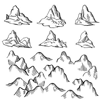 Example design elements to make your own fantasy or treasure maps. Includes mountains. Imitation of medieval drawings. Hand drawn sketch vector