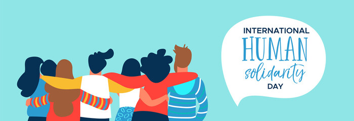 Human Solidarity banner of happy friend group hug