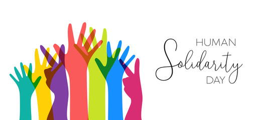 Wall Mural - Human Solidarity Day illustration colorful hands
