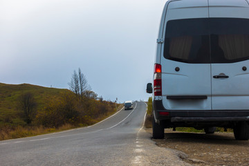 Minibus stands on the road