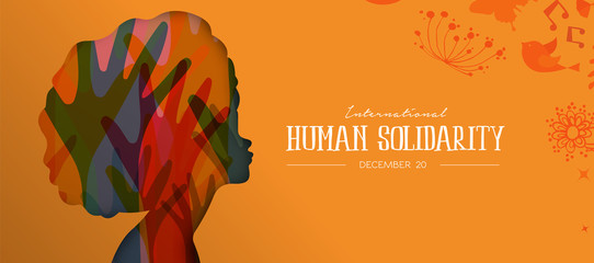 Human Solidarity Day card with afro woman profile