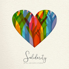 Wall Mural - International Human Solidarity Day illustration. Paper cut  heart shape and colorful hands from different cultures helping each other for community help, social love concept.