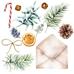Watercolor Christmas set with envelope and decor. Hand drawn old envelope, eucalyptus and pine tree branches, berries, cone, orange, bells and ribbon isolated on white background. Holiday print.