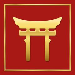 Golden shinto symbol on red background, golden frame, vector illustration.