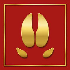 Year of the pig symbol. Golden pig footprint, red background, golden square format frame. Chinese luck symbol.