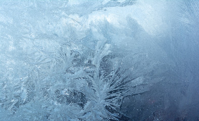 Ice on a Window.Blue Ice Texture Background.