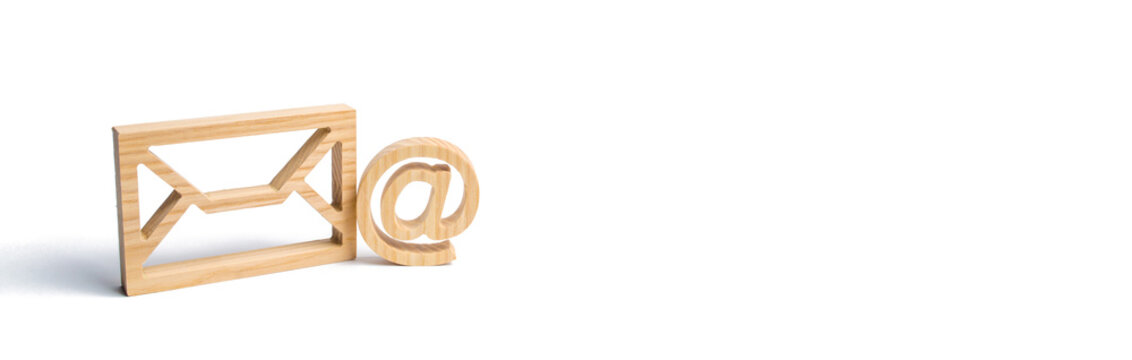 Envelope and email symbol on a white background. Concept email address. Internet technologies and contacts for communication. Communication over the network, business and correspondence. banner