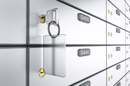 Safe deposit boxes with key. 3D rendering. Safe lockers