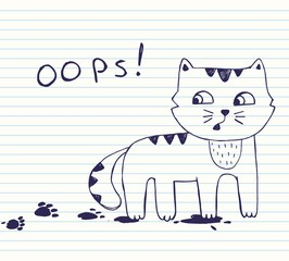 Vector illustration of hand drawn  little naughty cat with dirty footprints. Quick sketch with blue pen on the background of notebook sheet in line. poker face cat. oops!