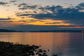 Magnificent sea sunset near Varna city.