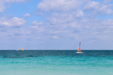 Sailboats sailing along the Atlantic coast, Cuba, Varadero