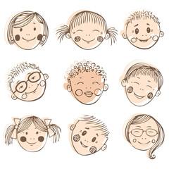 vector illustration of kids friends, doodle set
