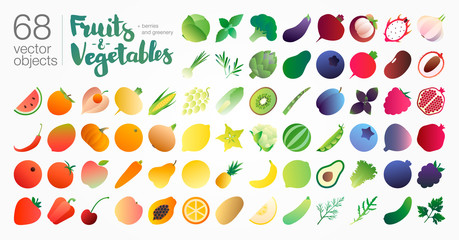 Photo sur Aluminium Cuisine Fruits-n-vegetables gradient illustration