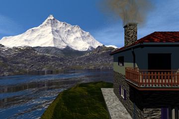 Snowy mountain, an alpine landscape, smoke in the chimney of the house, wonderful waters on the lake and a blue sky.