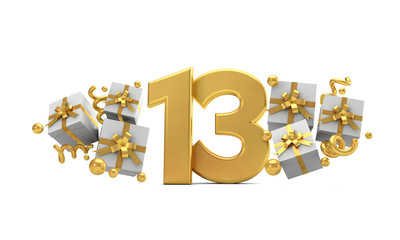 Number 13 gold birthday celebration number with gift boxes. 3D Rendering