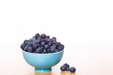 Blueberries in Blue Bowl on White on Isolated