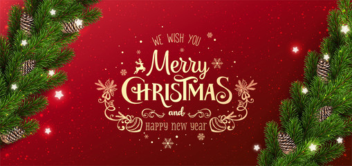 Gold Christmas and New Year Typographical on red background with garland of Christmas tree branches, snowflakes, stars. Xmas and New Year card. Vector Illustration